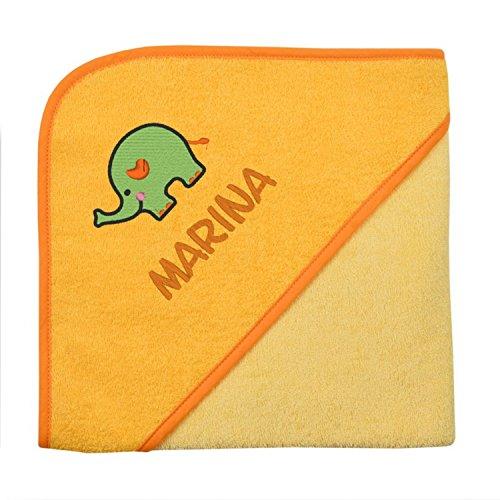 Wolimbo Kapuzenbadetuch mit Ihrem Wunsch-Namen und Wunsch-Motiv - Format: 100x100cm - Das individuelle und kuschelig weiche Badehandtuch für Mädchen und Jungs - Farbe: gelb - Wählen Sie Ihr Wunsch-Motiv