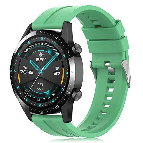 Find-MyWay Conpatible para Huawei Watch GT 2 (46mm)/Watch GT/Watch GT 2e/Watch GT2 Pro Correa para Mujer Hombre,22mm Silicona Deportiva Pulsera de Repuesto Banda Accesorios, Verde
