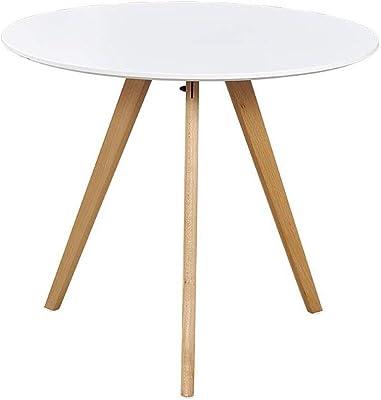 ミッドセンチュリー モダン サイドテーブル エンドテーブル ベッドサイド ナイトスタンド リビングルーム ダイニングルーム ゲストルーム バルコニー テーブル CJC (Color : White, Size : Diameter 70cm)