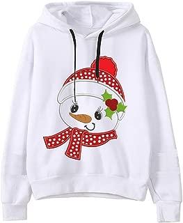 QIQIU Womens Christmas Cute Cartoon Snowman Prints Hooded Long Sleeve Loose Casual Fashion Sweatshirt Tops