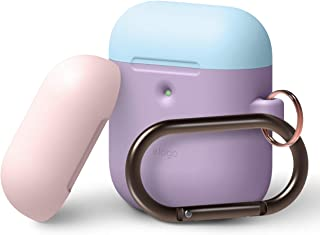 elago AirPods 2 Duo Hang Case [Body-Lavender/Top- Pastel Blue, Pink] - Front LED Visible, Supports Wireless Charging, Extra Protection, Added Carabiner - for AirPods 2 Wireless Charging Case