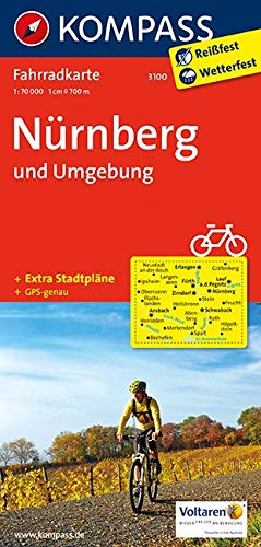 KOMPASS Fahrradkarte Nürnberg und Umgebung: Fahrradkarte. GPS-genau. 1:70000 (KOMPASS-Fahrradkarten Deutschland, Band 3100)