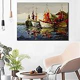 NIMCG Abstract Seascape Posters and Prints Wall Art Canvas Painting Sea Boat Imágenes Decorativas para la Sala de Estar Decoración del hogar (Sin Marco) 20x30CM