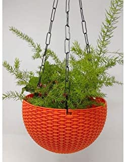 Airex Plastic Hanging pots for Plants and Flowers for Garden Balcony dŽcor -Pack of 1, Orange