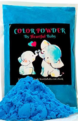 Heartful Baby Gender Reveal Party Supplies - 4lb Blue Color Powder 4 lbs Bag - Free Ebook - Boy He Him Announcement - Holi Festival Colored Powdered Smoke Bomb - Car Exhaust Burnout - 5k Fun Run Azul