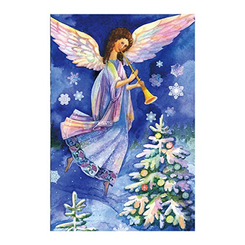Morigins Peace Angel and Colorful Christmas Tree Decorative Inspirational Winter Snow Garden Flag 12.5x18 inch