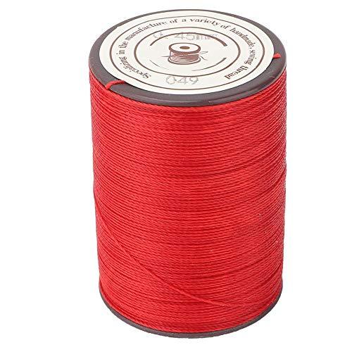Hilo de cera artesanal, 0.45 mm Trabajo hecho a mano Tejido de cuero Cordón de cera de costura 160m/Rollo Hilo Cordón Poliéster Artesanía Hilo para cuero DIY Proyecto Collar 160m/Rollo(rojo)