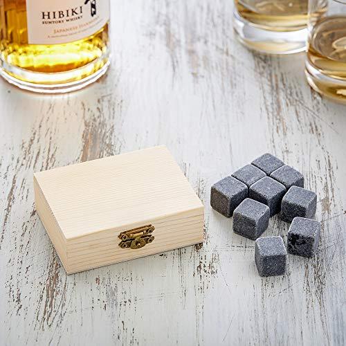 AMAVEL Whiskysteine in edler Holzbox – Standard – 9 geschmacksneutrale Kühlsteine für Whisky inkl. Aufbewahrungsbox – Wiederverwendbare Eiswürfel aus Granit – Originelle Geschenk-Idee für Männer - 3