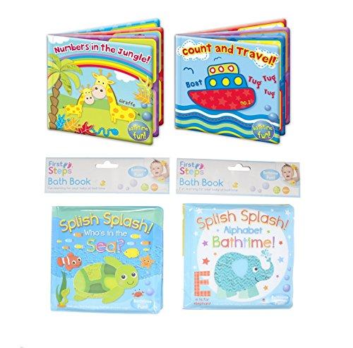 Baby Bade Bücher Plastik Überzogen Spaß Pädagogische Learning Spielsachen für Kleinkind & Kinder - Set von alle 4 Bücher