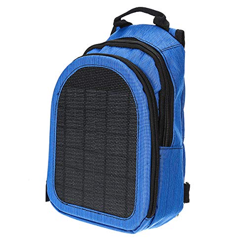 L-sister Solar Panels Charger USB Raincoat Power Bank Travel Backpack Laptop Notebook Unique style (Color : Blue)