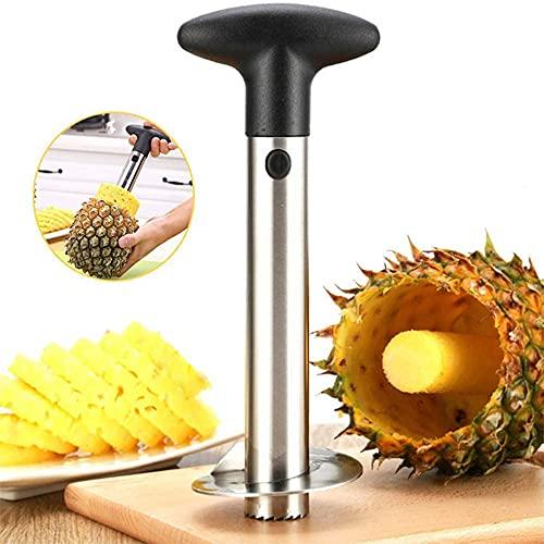 Peeler e affettatrice per ananas, 3 in 1 in acciaio inox per tagliare frutta, coltello a spirale, pelapatate per frutta