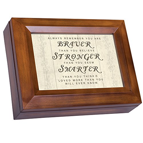 Cottage Garden You are Braver Stronger Smarter Woodgrain Digital Keepsake Music Box Plays My Wish