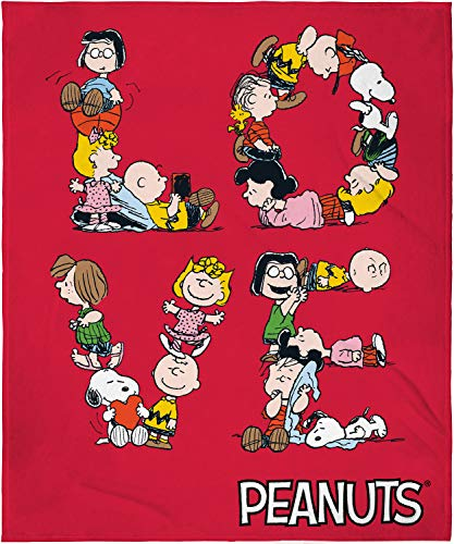INTIMO Peanuts Love Charlie Brown Snoopy and Pals Letter Art Fleece Plush Throw Blanket