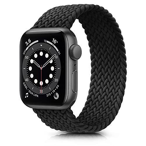 Fook Correa Compatible con Apple Watch 38mm 40mm 42mm 44mm,Pulsera de Repuesto de Elásticas Trenzadas Correa para iWatch Series SE 6 5 4 3 2 1,Negro 38mm/40mm L