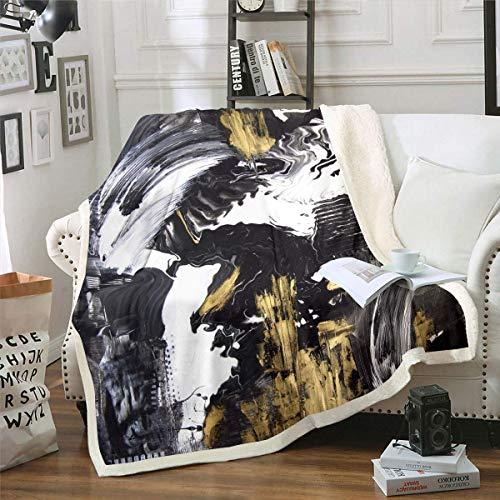 Coperta in marmo doppia dimensione astratta Art Design Fuzzy coperta per bambini adolescenti adulti donne uomini Golden Fluid peluche coperta pittura olio pavimento tiro leggero per soggiorno