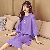 JJHR Schlafanzug Schlafkleid Baumwolle Casual Homewear Sommershorts Lila Farbe Solid Nightgown...