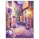 Nexos LED Wandbild Leinwandbild mit Beleuchtung Fotodruck Altstadt 30x40 cm Kunstdruck Leuchtbild mediterrane Sommer Süden mit Glasfaser-LED Italien Rom