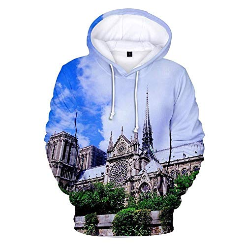 Hooded Casual 3D Printing Hoodies Romantic European Architecture Group Blue White Manches Longues Respirant Unisexe Sweatshirts Réglable Drawstring Pullovers with Kangaroo Pocket-Color_XL