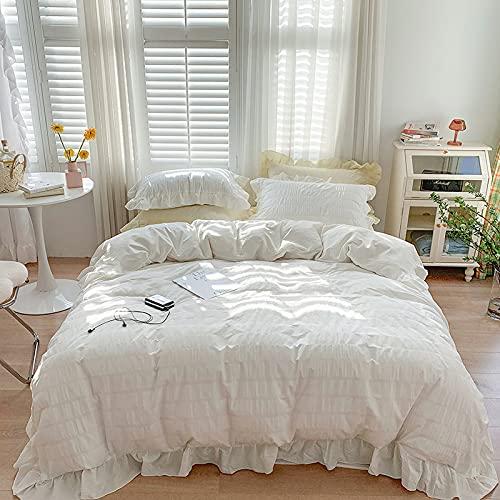 KANGH Hoja de edredón de algodón Seersucker de cuatro piezas con volantes y corazón de color crema, color blanco