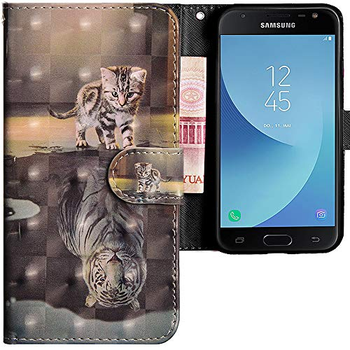 CLM-Tech Custodia per Samsung Galaxy J5 2017, Sintetica Pelle Flip Case Cover, Portafoglio con Funzione Supporto e Slots, Gatto Tigre Grigio