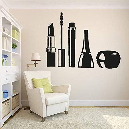 Maquillaje etiqueta de la pared arte etiqueta de la pared para el dormitorio decoración de la habitación cosmética salón de belleza lápiz labial ojo negro