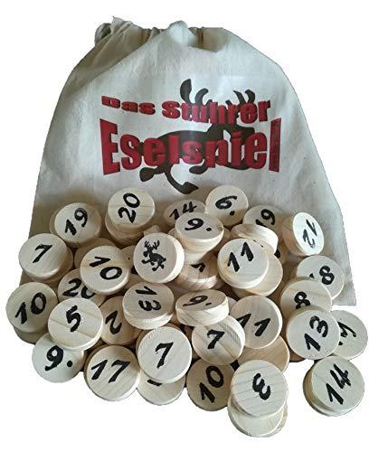 Prescher Das Stuhrer Eselspiel XS in der Weihnachtsedition mit 61 Spielsteine für 2 - 4 Spieler mit 3 Stapeln, Familienspiel,Reisespiel