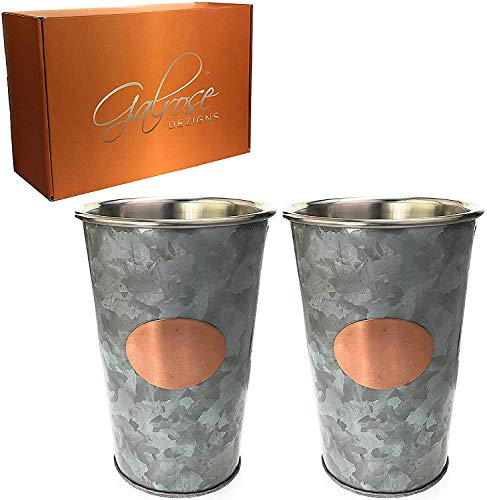 Galrose Galvanized Iron Mint Julep Cups - Set of 2 with Rose Gold Accents, Stainless Steel Lined Double Walled 16 oz Stylish Beer Glasses for Home Bars. Unique 6th Iron Anniversary or Birthday Gift