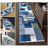 Filjr Alfombra Pasillo Larga Moderna Antideslizante Lavable, Alfombra Azul de Poliéster Rayas Geométricas for Salón Cocina Dormitorio Personalizables (Size : 80×600cm)