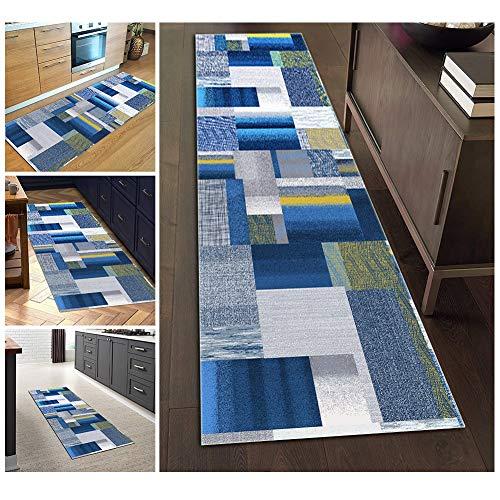 Filjr Alfombra Pasillo Larga Moderna Antideslizante Lavable, Alfombra Azul de Poliéster Rayas Geométricas for Salón Cocina Dormitorio Personalizables (Size : 60×200cm)
