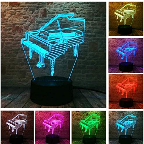 3D LED illusie lamp creatieve elektrische muziek gitaar bas gitaar piano dans ballet meisje 7 kleurverandering kind slaap nachtlampje kerstcadeaulamp