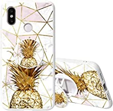 KAPUCTW Xiaomi Redmi Note 8T Case with Stand Grip Holder Kickstand, Redmi Note 8T Slim Silicone Shockproof TPU Bumper Back Cover with Cute Marble Flower Design for Girls Women,White Pineapple