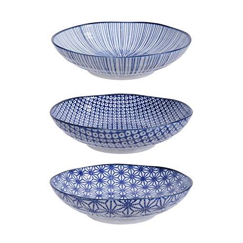 TOKYO design studio Nippon Blue 3-er Pasta-Teller-Set blau-weiß, Ø 21 cm, ca. 5,3 cm hoch, asiatisches Porzellan, Japanisches Design mit geometrischen Mustern, auch als Suppen-Teller verwendbar