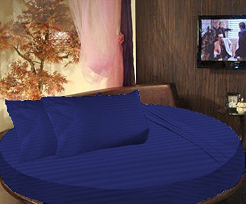 SCALABEDDING 100% algodón egipcio diseño a rayas cama redonda 3piezas Sábana bajera y fundas de almohada 600TC King 96'Diámetro Royal azul