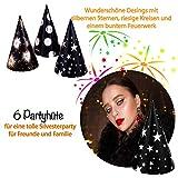 L+H Silvester Party Set 2021 | Party Deko Set mit über 15 Premium-Teilen | 10x hochwertige ökologische Trinkhalme, 3X Partypopper, 6X Partyhüte wiederverwendbar | Happy New Year Dekoration - 3