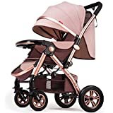 MAOSF Pushchairs Folding Stroller, Lightweight Compact Portable Travel Carriage, Multi-Function Two-Way High Landscape Sitting and Lying Shockproof Pushchairs, Ages 0-3 (Color : Khaki)