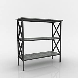 Weathered Grey Oak Finish 3-Tier Metal X-Design Bookcase Bookshelf Console Sofa Table