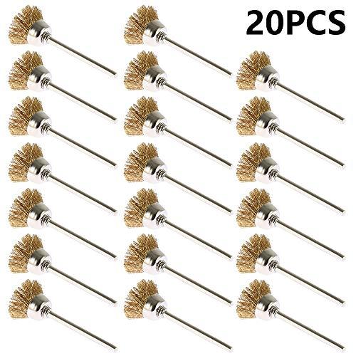 Ghopy 20 Stück Topf-Drahtbürste Ø 15mm Messing Stahldraht Rad Pinsel Set Polieren Reinigung Drehwerkzeug Buffing Pinsel Full Kit für Dremel Rotary Tools