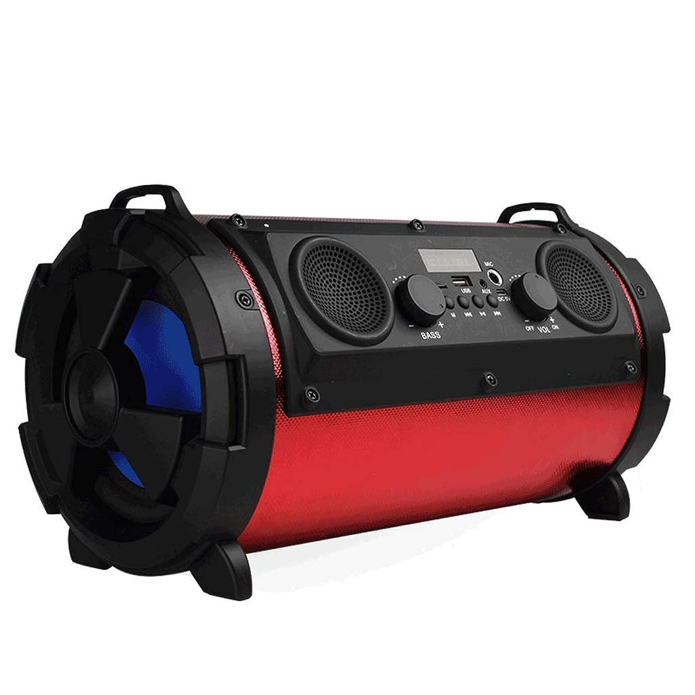 アルプスクラフト展示会サブウーファーカードマイクオーディオBluetoothスピーカー屋外防水と防塵多機能オーディオ (Color : Red)