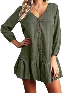 Hmarkt Women Plain Dress Button Down V Neck Long Sleeve Blouse Top Shirts