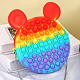 yiran fidget toy bubble borsa a tracolla, pop it sensory toy bag orso panda silicone push bubble messenger bag moda rainbow giocattoli anti stress anti-ansia giocattolo borsa a mano per bambini adulti