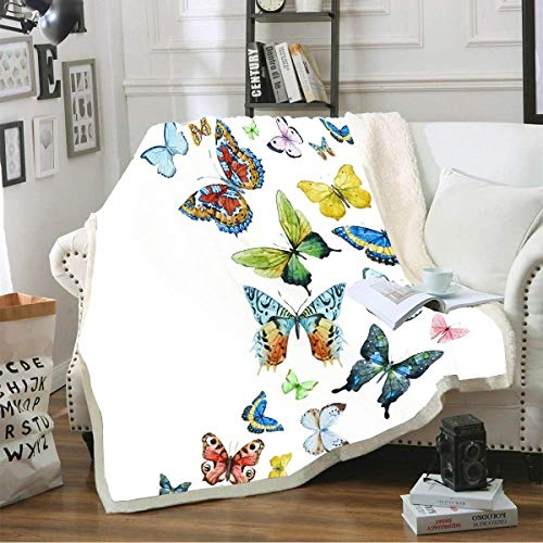 IMMDDBA Manta De Tiro Mariposa De Color Animal Manta De Felpa 3D Colcha para Niños Niñas Manta Sherpa para Sala De Estar Sofá Dormitorio Cama Manta De Felpa (Tamaño: 180X220Cm)