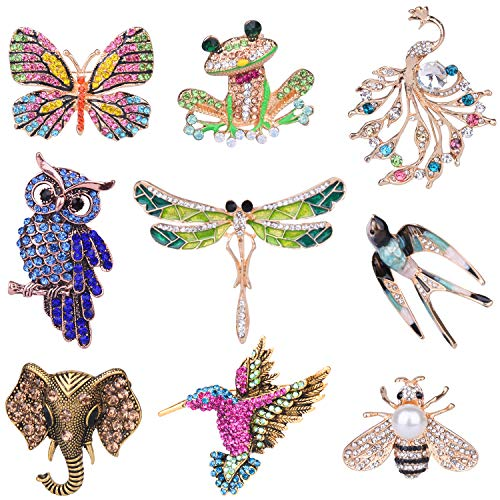 Ancefine 9 Pieces Women Girls Brooch Pins Set Colorful Animal Insect Brooch Crystal Brooch Pin