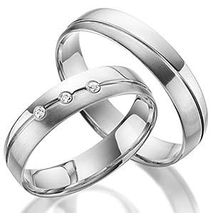 2 x Trauringe 925 Silber PAARPREIS Zirkonia und Gravur AG.02.925 Eheringe Verlobungsringe Silber Hochzeit Standesamt ECHT Silber Wedding Rings Fischer Rubin
