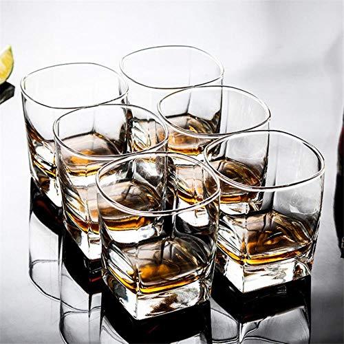 ATYBO 6pcs / Set Vaso Cuadrado de Cristal de Whisky para el Bar casero, Cerveza, Agua y Vasos de Boda para Fiestas, 6 Piezas
