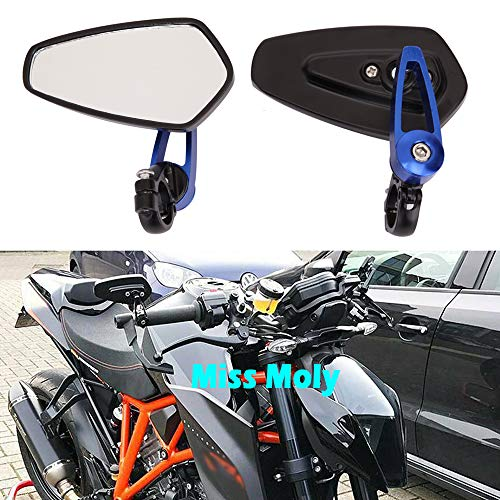 Motorcycle Bar End Side Mirrors 7/8' 22mm Aluminum Alloy Handlebar Rearview Mirrors for Scooter Cruiser Sport Bike (Blue)