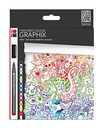 Marabu Colour Doodle Supreme Fineliner, Plastic, Multi-Colour, Set of 12 by Marabu