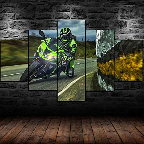 IIIUHU Canvas Wall Art 150X80 Cm Non-Woven Canvas Prints Image Framed Artwork Painting Picture Photo Home Decoration 5 Pieces Wall Art Kawasaki Ninja Race Bike Superbike Moto