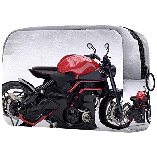 Bolsa de tocador de Viaje portátil Paño de Oxford Bolsa de cosméticos de Vistoso de Organizador de Maquillaje con Cremallera Apto para niñas Moto roja 18.5x7.5x13cm
