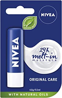 NIVEA Lip Balm Original Care (4.8g), Protective Lip Moisturiser with Shea Butter and Natural Oils, Caring Lip Balm for 24h...