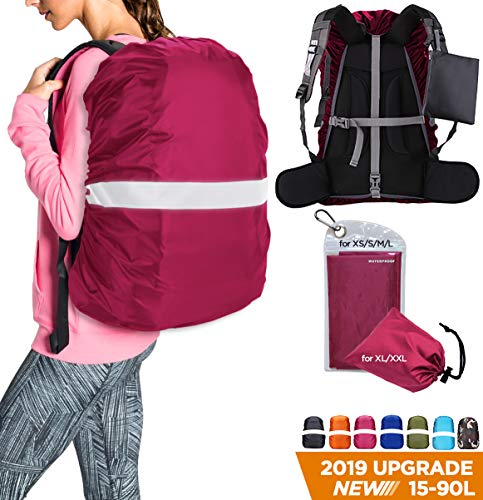 HUNSUETEK Reflective Backpack Rain Cover, Waterproof Travel Pack Cover with Anti Slip Adjustable Buckle Straps, Rainproof Pouch for Hiking/Cycling/Traveling/Men/Women (Fuchsia, S(25L-35L))